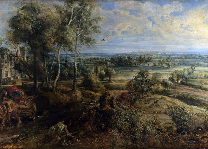 Peter Paul Rubens Greeting Card featuring the digital art A View Of Het Steen In The Early Morning by Peter Paul Rubens