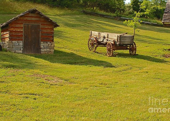 Daniel Boone Greeting Card featuring the photograph A Wagon  Let's Work by Sandra Clark