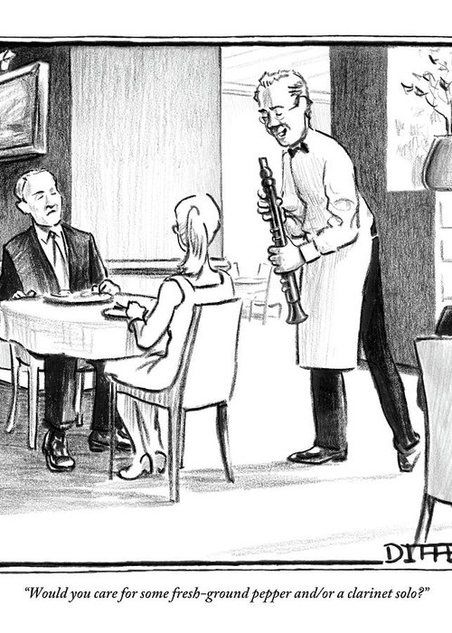 Waiters Greeting Card featuring the drawing A Waiter Offers Pepper To Two Patrons. His Pepper by Matthew Diffee