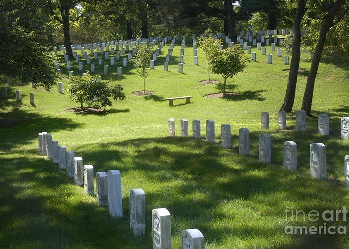 Arlington National Cemetery Greeting Card featuring the photograph A Waiting Bench by Paul W Faust - Impressions of Light