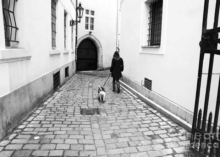 A Walk In Prague Greeting Card featuring the photograph A Walk In Prague by John Rizzuto