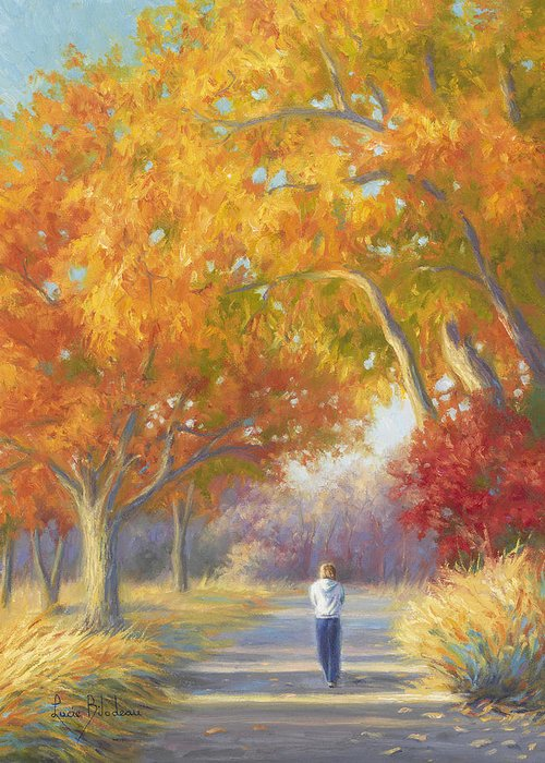 Fall Greeting Card featuring the painting A Walk In The Fall by Lucie Bilodeau
