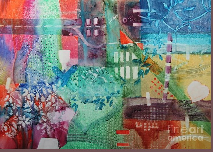 Abstract Greeting Card featuring the painting A Spring Walk In The Park  by Elizabeth Carr