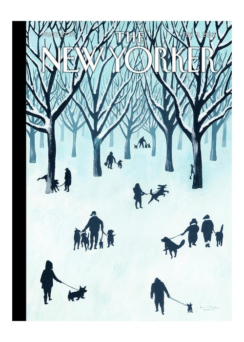Snow Greeting Card featuring the painting A Walk In The Snow by Mark Ulriksen