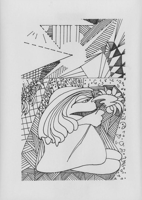 Girl Smelling Flower Greeting Card featuring the drawing A Walk In The Sunshine by Donna Crist
