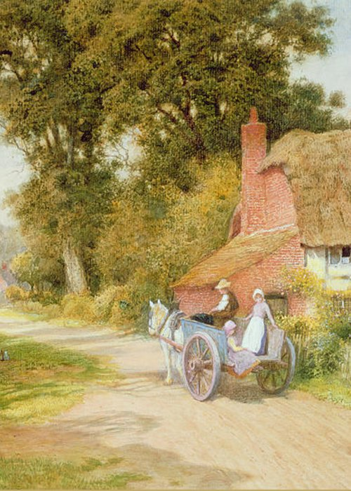 Horse And Cart; Thatched Cottage; Thatch; Half-timbered; Country Lane; Rural; Duck Pond; Ducks; Victorian; Countryside Greeting Card featuring the painting A Warwickshire Lane by Arthur Claude Strachan