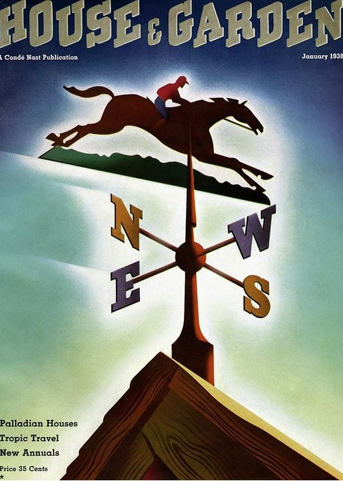 House And Garden Greeting Card featuring the photograph A Weathervane With A Racehorse by Joseph Binder