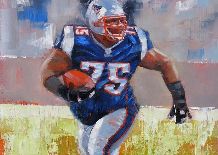 Vince Wilfork Greeting Card featuring the painting A Well Conditioned Athlete by Laura Lee Zanghetti