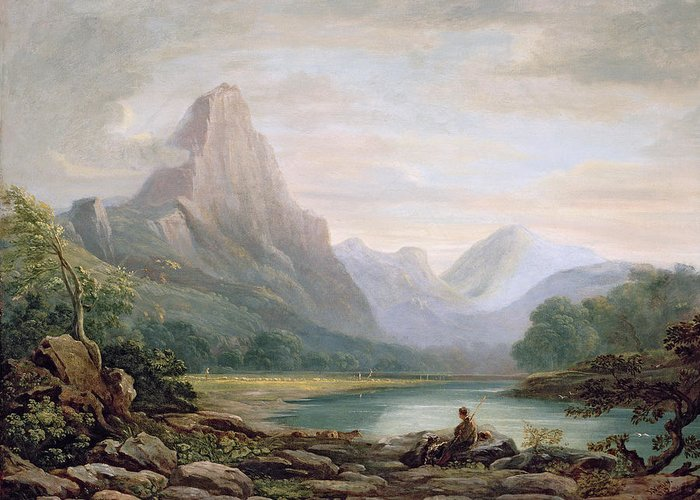 Landscape Greeting Card featuring the painting A Welsh Valley, 1819 by John Varley