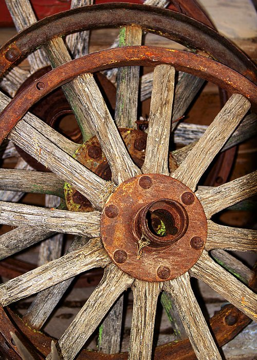 Wheels Greeting Card featuring the photograph A Wheel In A Wheel by Phyllis Denton