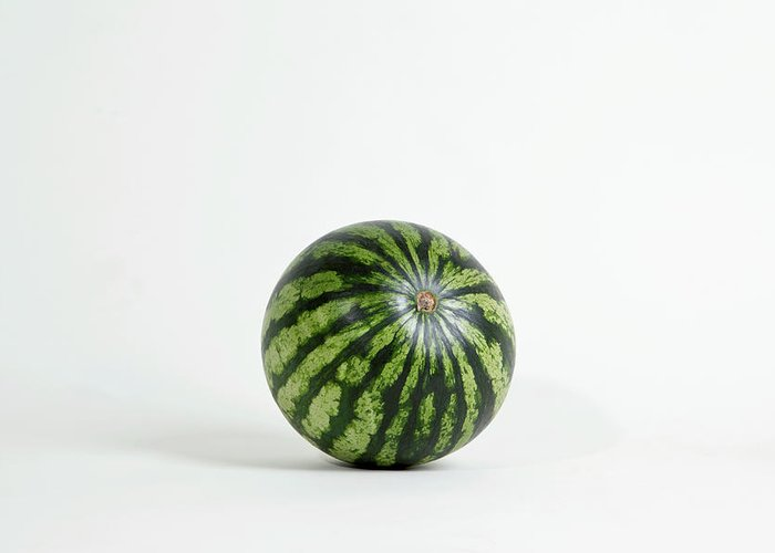 Shadow Greeting Card featuring the photograph A Whole Ripe Watermelon, Studio Shot by Halfdark