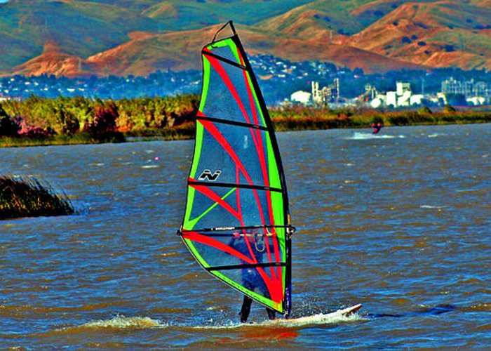 Wind Surfing Greeting Card featuring the digital art a WindSurfer's Gr8 Ride by Joseph Coulombe