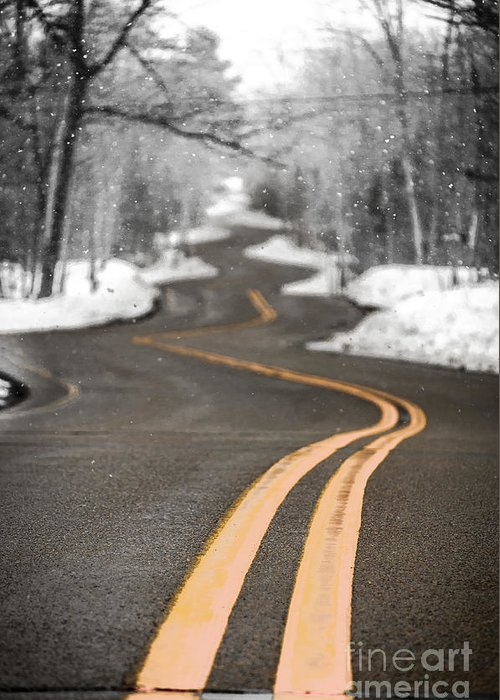 Winding Road Greeting Card featuring the photograph A Winter Drive Over A Winding Road by Ever-Curious Photography