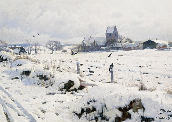 1920s Greeting Card featuring the painting A Winter Landscape Holmstrup by Peder Monsted