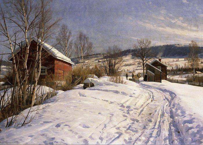 1922 Greeting Card featuring the painting A Winter Landscape Lillehammer by Peder Monsted