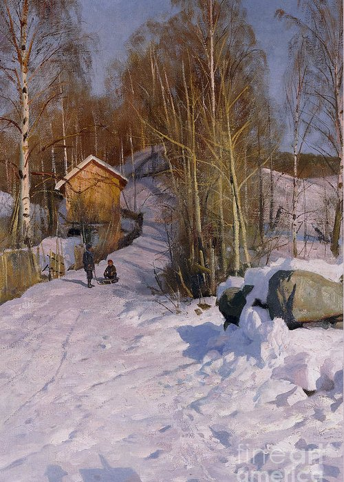 1918 Greeting Card featuring the painting A Winter Landscape With Children Sledging by Peder Monsted