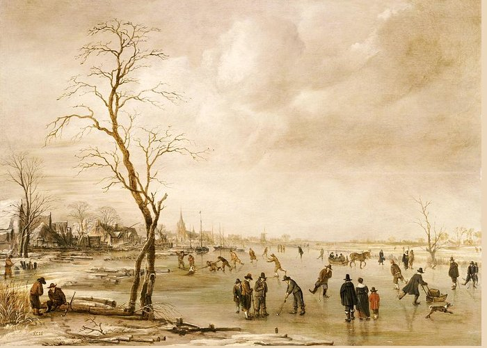 Winter Greeting Card featuring the painting A Winter Landscape With Townsfolk Skating And Playing Kolf On A Frozen River by Aert van der Neer