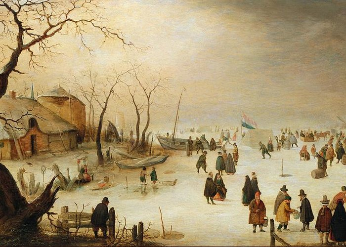 A Winter River Landscape With Figures On The Ice Frozen River; Netherlands; Holland; Golf; Sport; Boats; Hendrik Avercamp Greeting Card featuring the painting A Winter River Landscape With Figures On The Ice by Hendrik Avercamp