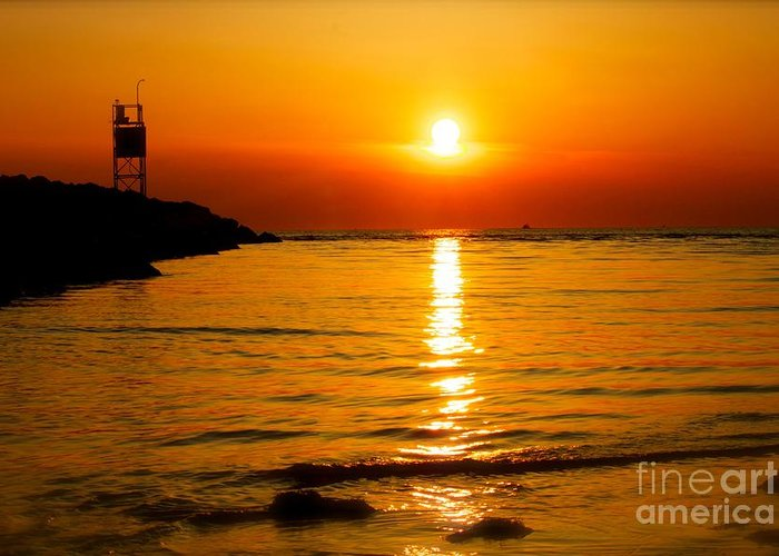 Cape May Bay Sunset Shot Taken During The Winter Of 2012 Greeting Card featuring the photograph A Winter Sunset In Cape May New Jersey by Nivas Photography