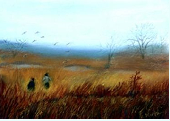 Figures Greeting Card featuring the painting A Winter Walk by Gail Kirtz
