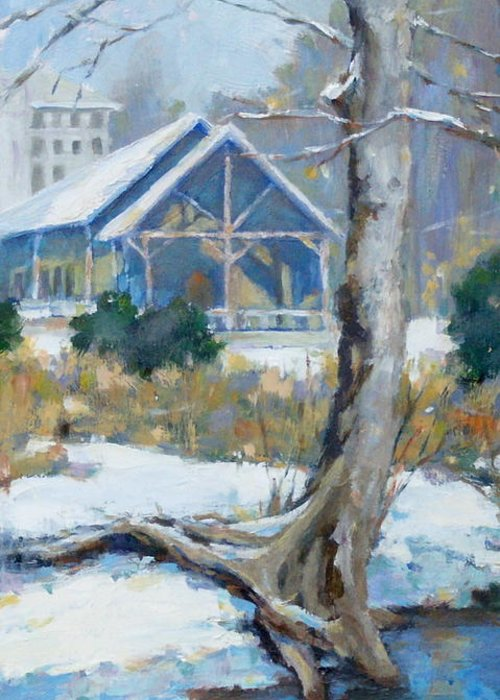 Edwin Warner Park Greeting Card featuring the painting A Winter Walk In The Park by Sandra Harris
