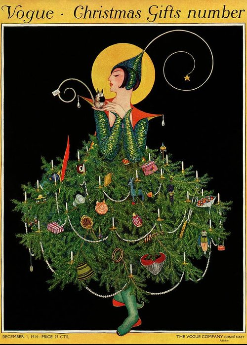 Illustration Greeting Card featuring the painting A Woman Dressed As A Christmas Tree by Artist Unknown