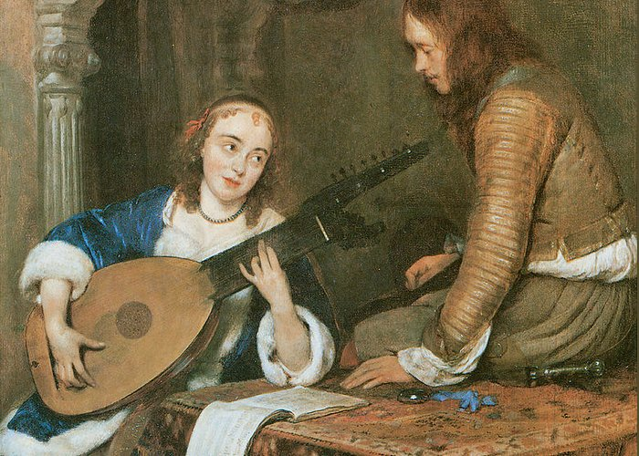 Gerard Terborch Greeting Card featuring the painting A Woman Playing The Theorbo-lute And A Cavalier by Gerard Terborch