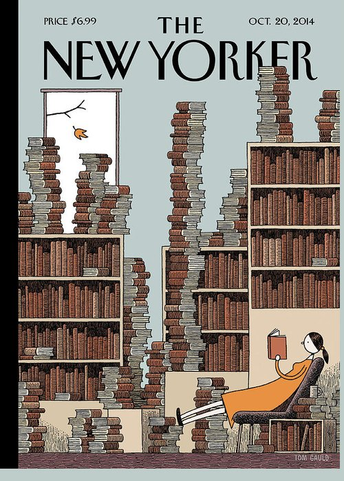 Books Greeting Card featuring the painting Fall Library by Tom Gauld
