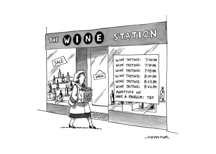 Captionless Greeting Card featuring the drawing The Wine Station by Joe Dator