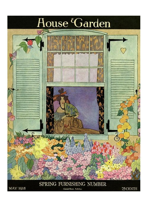 House And Garden Greeting Card featuring the photograph A Woman With A Fan by Helen Dryden