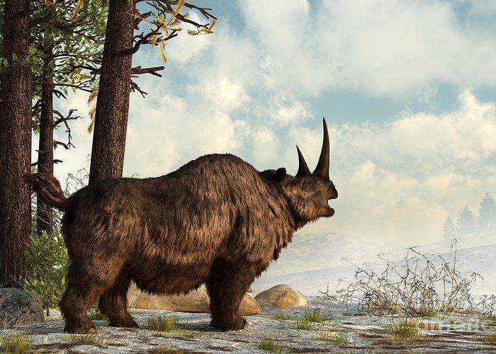 Outdoors Greeting Card featuring the digital art A Woolly Rhinoceros Trudges by Daniel Eskridge