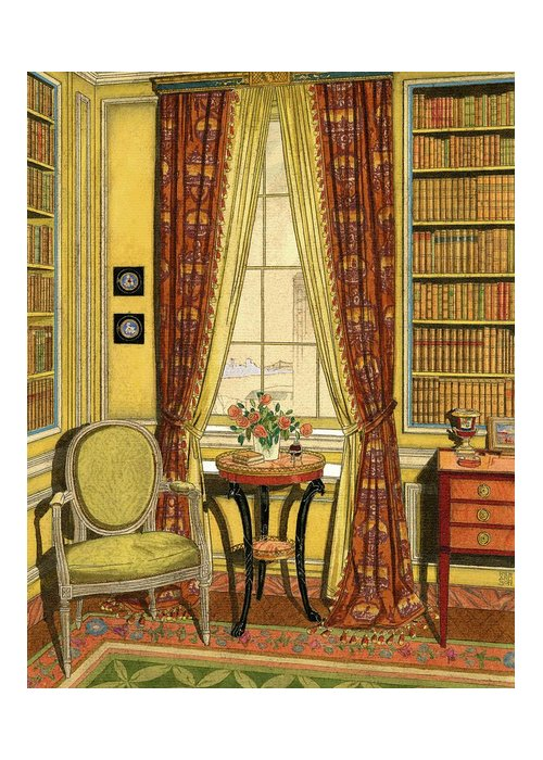 Illustration Greeting Card featuring the digital art A Yellow Library With A Vase Of Flowers by Harry Richardson