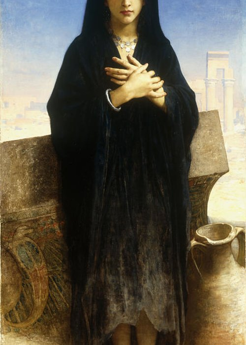 Young; Fellah; Girl; Female; Arabic; Rural; Provincial; Barefoot; Black; Hijab; Burka; Burqa; Scarf; Headdress; Pot; Urn; Blue; Sky; Ruin; Ruins; Heat; Arid; Solemn; Serious; Full Length; Portrait; Pottery; Standing Greeting Card featuring the painting A Young Fellah Girl by William Adolphe Bouguereau