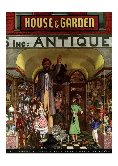 House And Garden Greeting Card featuring the photograph A Young Matron In Front Of A Antique Store by Pierre Brissaud