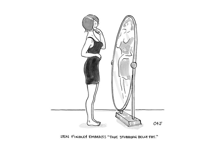 A Young Woman Stands Facing A Full Length Mirror Greeting Card