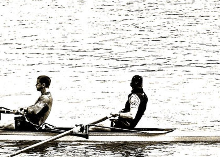 Rowing Greeting Card featuring the photograph A2230031regatta by David Fabian