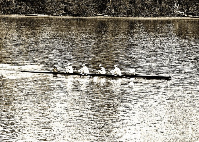 Rowing Greeting Card featuring the photograph A2230188 Ragatta by David Fabian