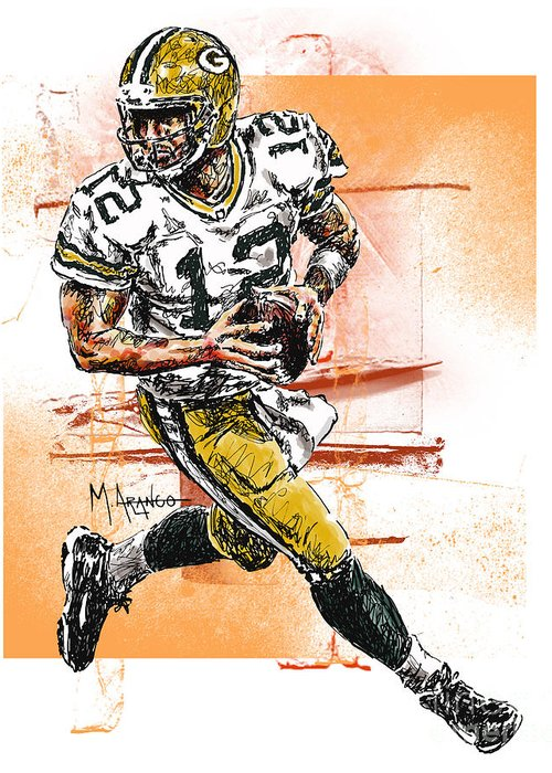 Aaron Greeting Card featuring the drawing Aaron Rodgers Scrambles by Maria Arango