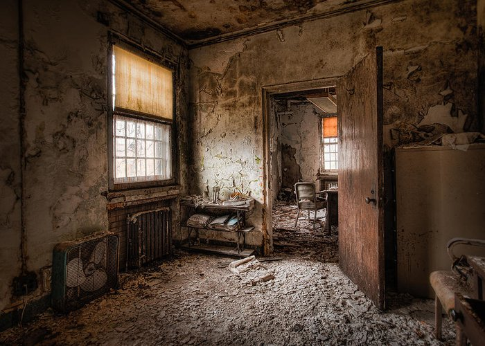 Abandoned Building Greeting Card featuring the photograph Abandoned Asylum - Haunting Images - What Once Was by Gary Heller