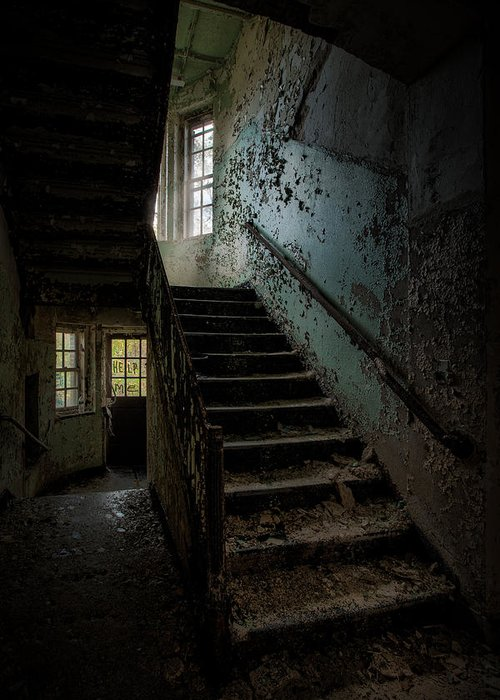 Abandoned Places Greeting Card featuring the photograph Abandoned Building - Haunting Images - Stairwell In Building 138 by Gary Heller