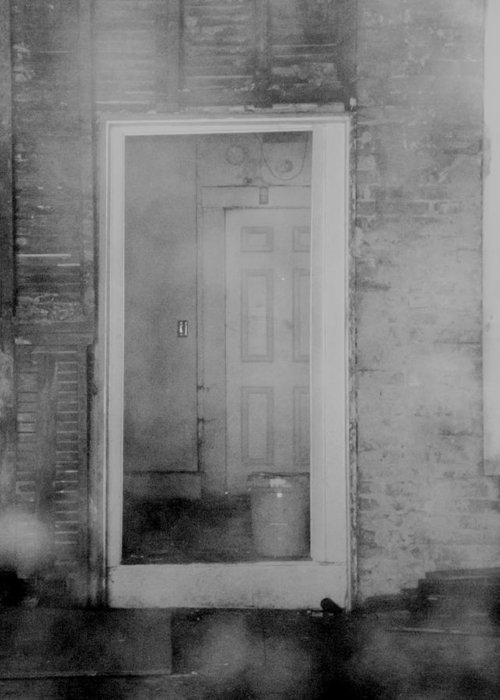 Door Greeting Card featuring the photograph Abandoned by Clara Kitchen