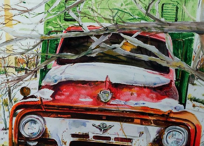 Truck Greeting Card featuring the painting Abandoned Delivery by Scott Nelson