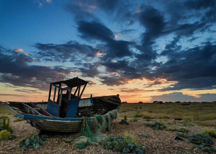 Landscape Greeting Card featuring the photograph Abandoned Fishing Boatsunset Landscape Digital Painting by Matthew Gibson