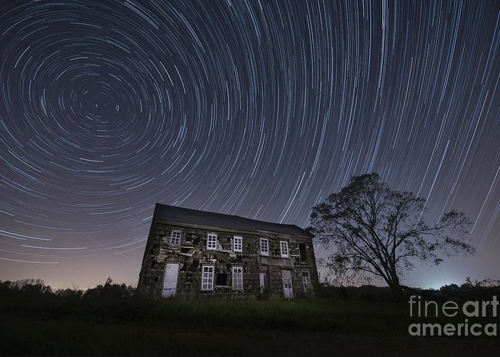 Abandoned History Star Trails Greeting Card featuring the photograph Abandoned History Star Trails by Michael Ver Sprill