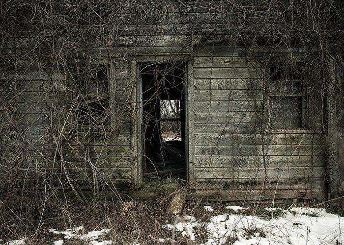 Rustic Greeting Card featuring the photograph Abandoned House - Enter House On The Hill by Gary Heller