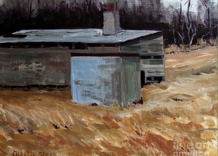 Ice House Greeting Card featuring the painting Abandoned Ice House Circa Late 1800.s by Charlie Spear