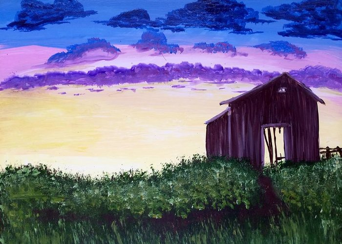 Landscape Greeting Card featuring the painting Abandoned In The Evening by Joy Gilley