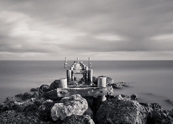 3scape Photos Greeting Card featuring the photograph Abandoned Pier by Adam Romanowicz