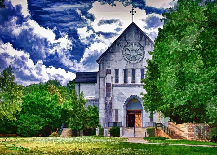 Architecture Greeting Card featuring the digital art Abbey Church by Ludwig Keck
