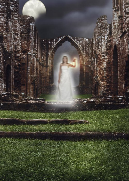 Ghost Greeting Card featuring the photograph Abbey Ghost by Amanda Elwell
